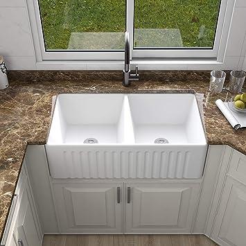 deervalley dv 1k028 33 l x 18 w white farmhouse ceramic kitchen sink reversible double bowl farmhouse sink with apron front porcelain ceramic