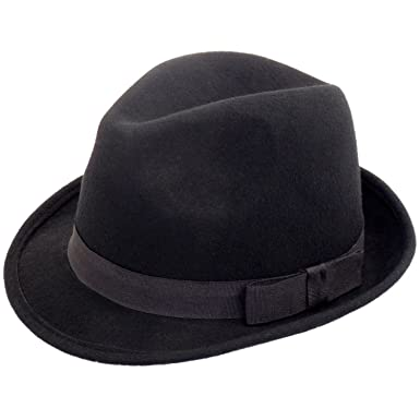 f249870e Elegant Gentlemans Traditional Felt Trilby Hat (Black, 59cm): Amazon.co.uk:  Clothing