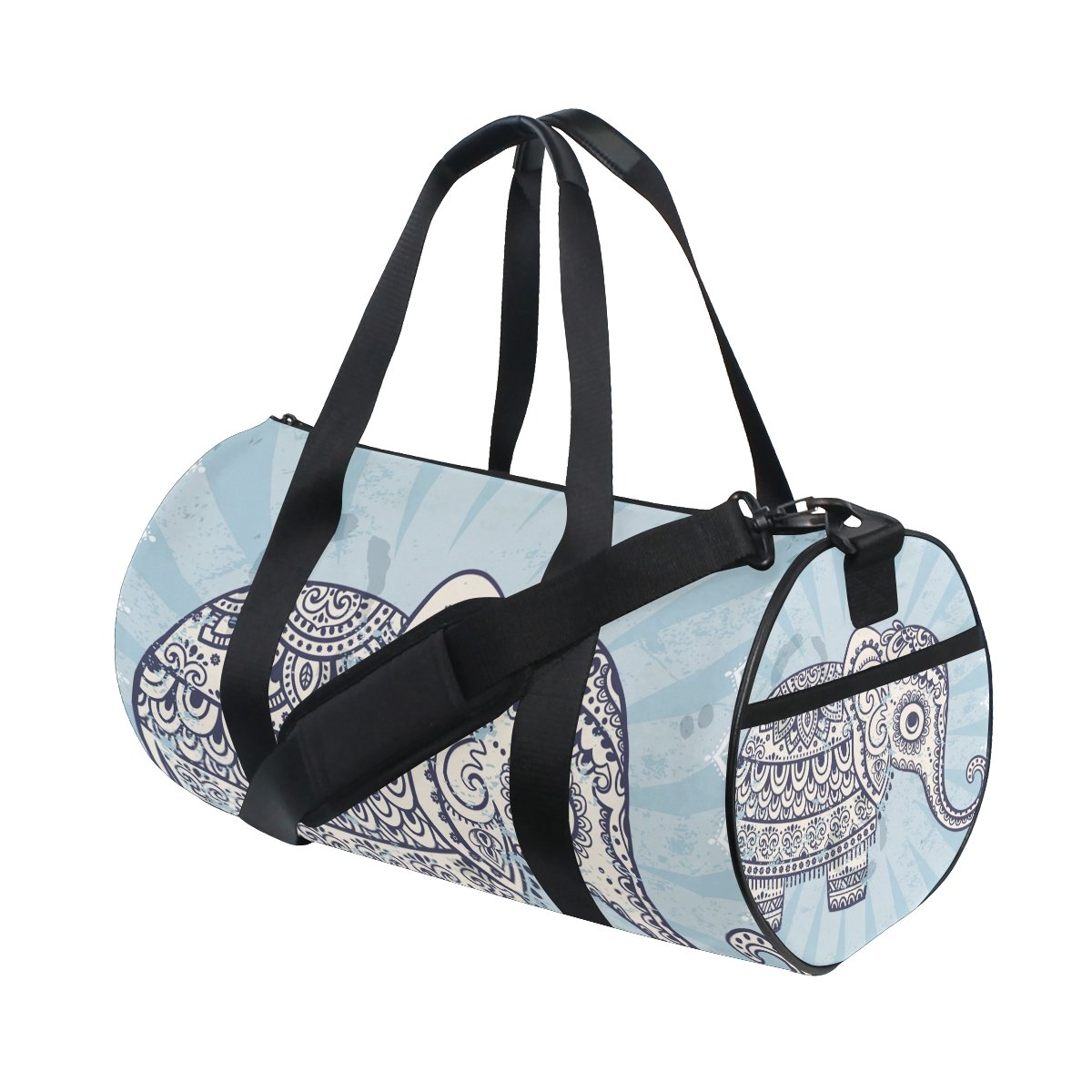 Hippie Indian Elephant Mandala Sports Duffel Bags, Travel Gym Fitness Bag