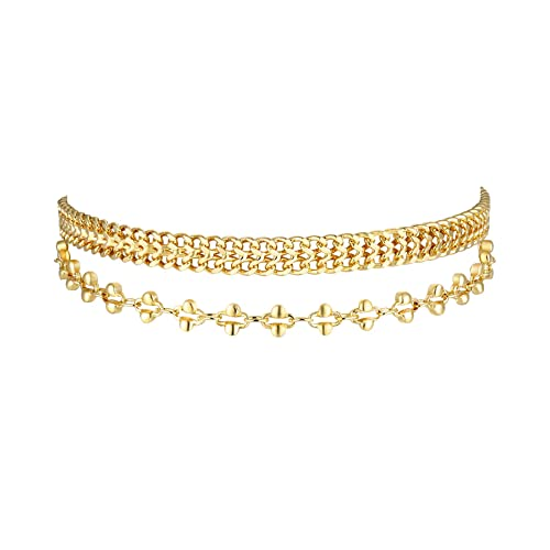 ee3981623 Amazon.com: Dainty 14K Gold Plated Ankle Bracelet, 2 Pieces Handmade Chain  Anklet Set, Double Layered Boho Beach Style Summer Anklets for Women:  Jewelry