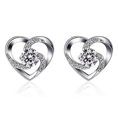 """ae5cc8c78 B.Catcher Women Silver Eearrings 925 Sterling Silver """"Crazy Love"""" Heart Studs  Earring"""