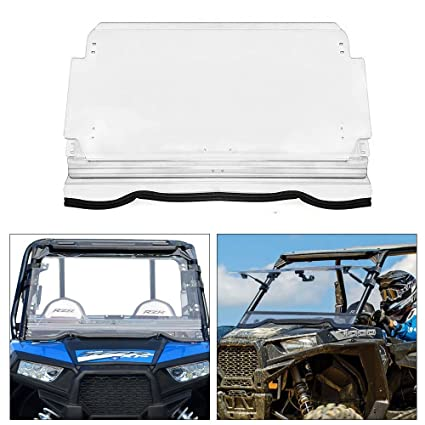 Polaris Scratch Resistant Flip Windshield - Polycarbonate Coated 3-IN-1 Polaris Windshield for