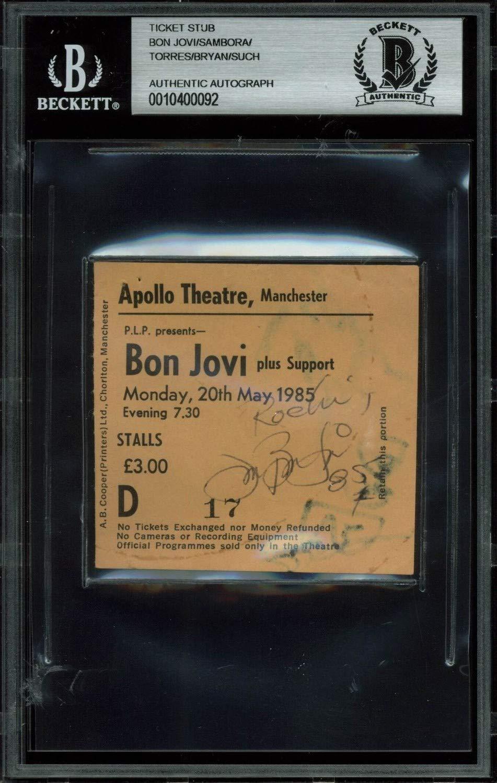 Bon Jovi 4 Autographed 3X2.75 1985 Manchester Apollo Theatre Ticket Stub Bas Slab Certified Authentic