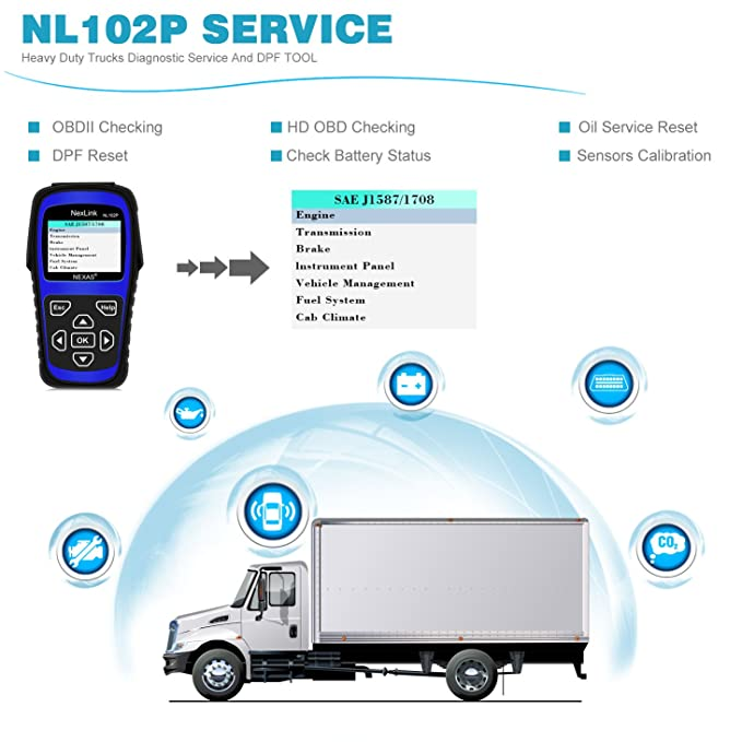 Heavy Duty Truck Scan Tool NL102 Plus Auto Scanner with DPF/Sensor  Calibration/Oil Reset + Check Engine for Cars