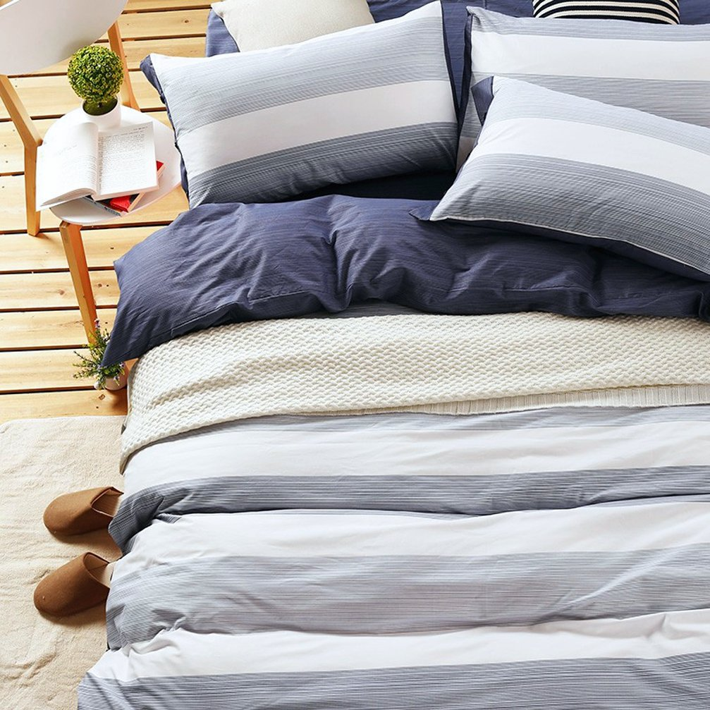 Cabana Stripe Modern Duvet Cover 100-Cotton Twill Bedding Set Geometric White and Navy Distressed Rugby Stripes Print
