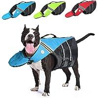 Dog Life Jacket,Dog Safety Vest Adjustable Preserver,Ripstop Pet Puppy Floatation Vest Saver Swimsuit Preserver with…