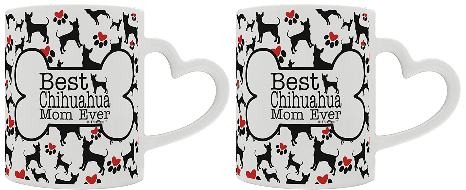 Teacup Chihuahua Gifts Best Chihuahua Mom Ever Dog Owner Gifts Dog Lover 2 Pack Heart Handle Gift Coffee Mugs Tea Cups Heart Handle