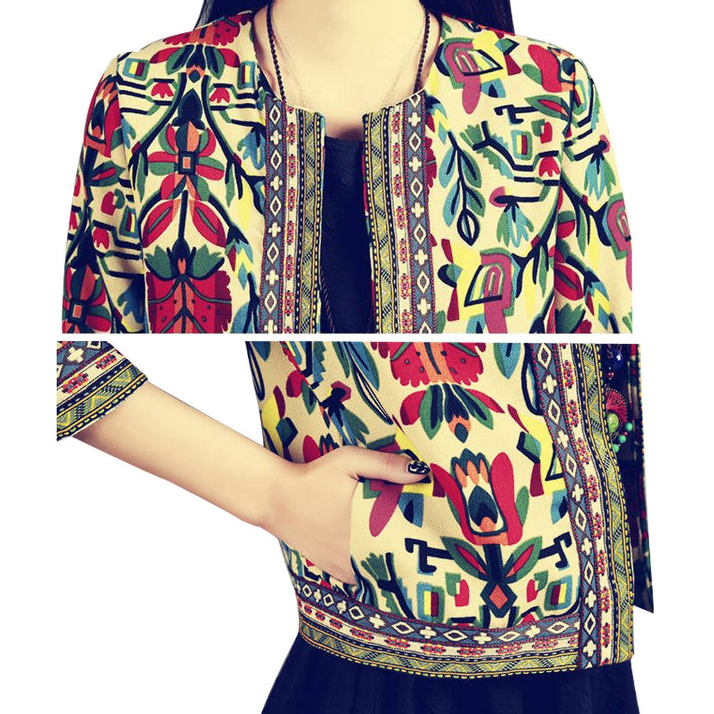 Buenos Ninos Women's 3/4 Sleeve Ethnic Embroidery Cardigan Retro Printed Flyaway Jacket Coat Beige XXL by Buenos Ninos (Image #1)