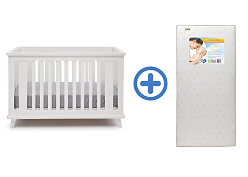 Delta Children Ava 3-in-1 Convertible Crib, White with Twinkle Stars Crib Toddler Mattress