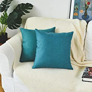 PSDWETS Set of 2 Outdoor Waterproof Linen Pillow Covers Home Decorations Square Garden Cushion Cases Throw Pillow Covers for Patio Couch Sofa 18 x 18 Inch Turquoise