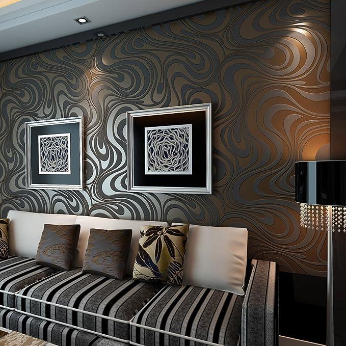 HANMERO® Murales decorativos pared Papel pintado rayas curvas papel de pared dormitorios/salón/hotel/fondo de TV/color negro marrón, 0.7M*8.4M