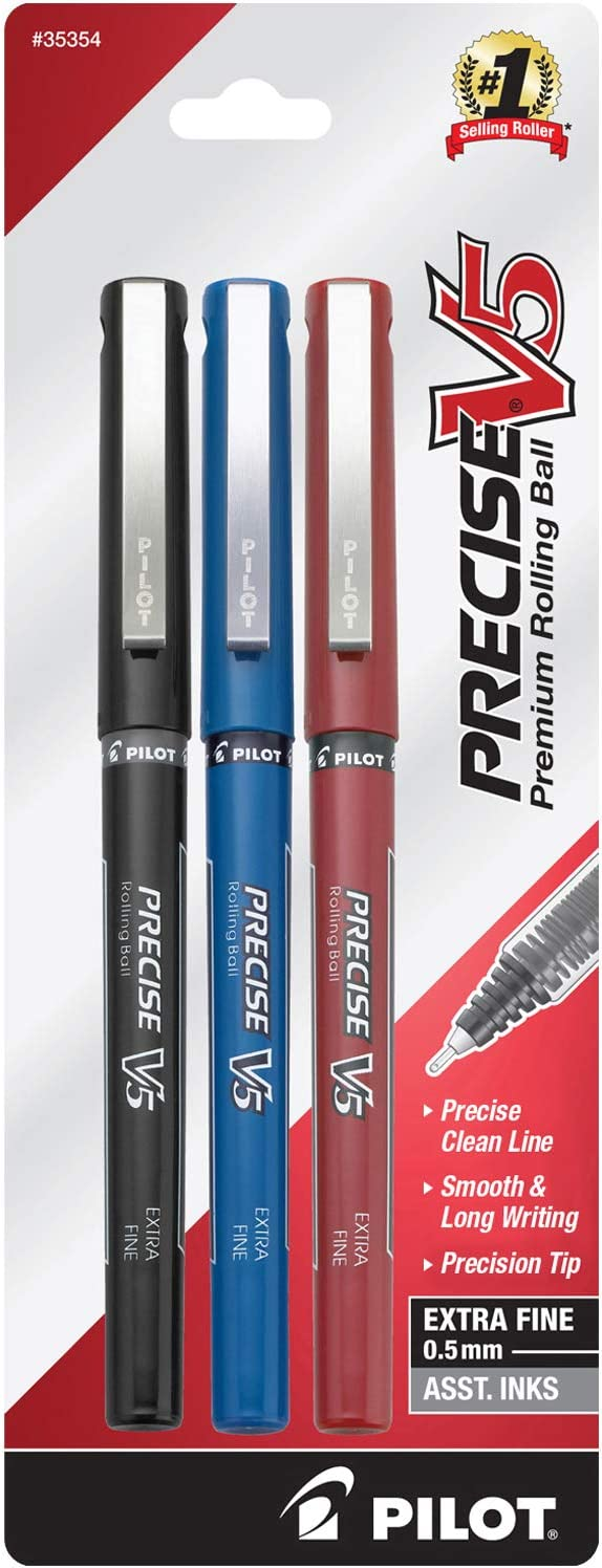 PILOT Precise V5 Stick Liquid Ink Rolling Ball Stick Pens, Extra Fine Point (0.5mm) Black/Blue/Red Inks, 3-Pack (35354)