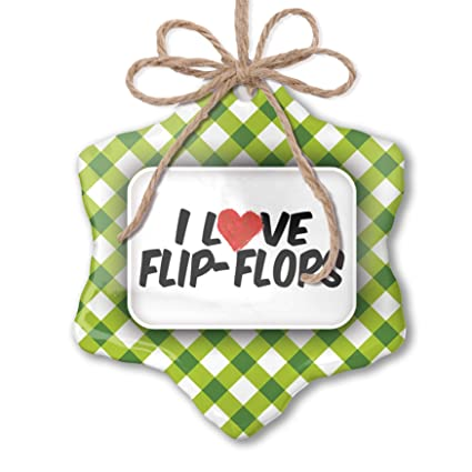 Amazon com: NEONBLOND Christmas Ornament I Love Flip-Flops
