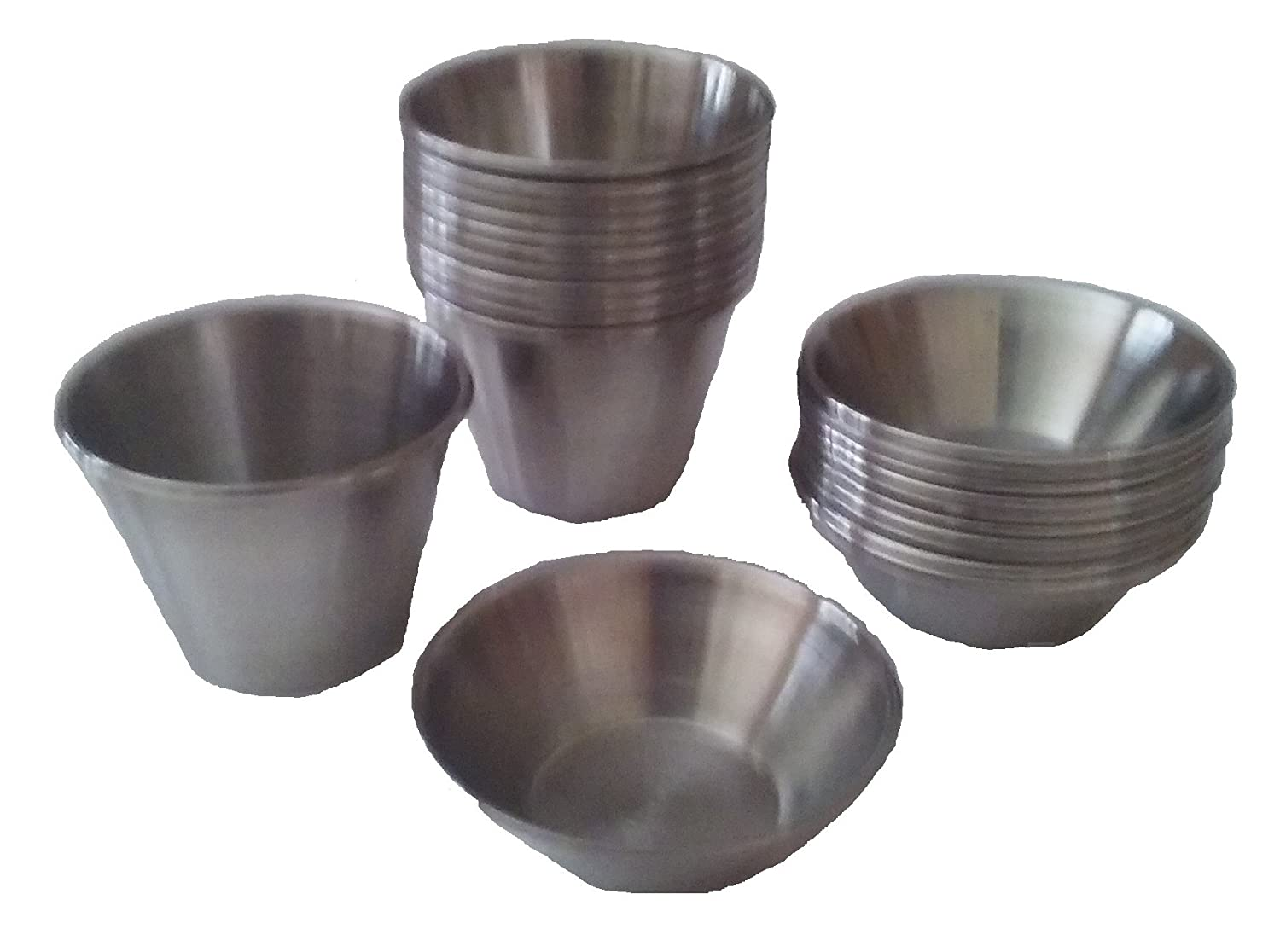 Small Cups for Condiments and Sauces; Stainless Steel; Bundle of 1.5 oz and 2.5 oz sizes; each size with 12 cups (24 total cups) Thunder Group