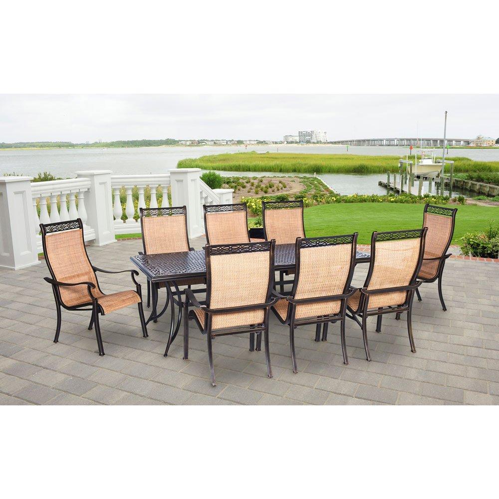 Amazon com hanover mandn9pc manor 9 piece rust free aluminum patio dining set outdoor furniture tan garden outdoor