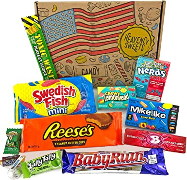 Heavenly Cesta de Dulces y Chocolate Americanos - Set de Marcas Clásicas de USA, Surtidos Originales, Regalo Perfecto para Niños, Adulto - Cumpleaños, Navidad - 12 Dulces, Pack de 25x18x2.5cm: Amazon.es: Alimentación