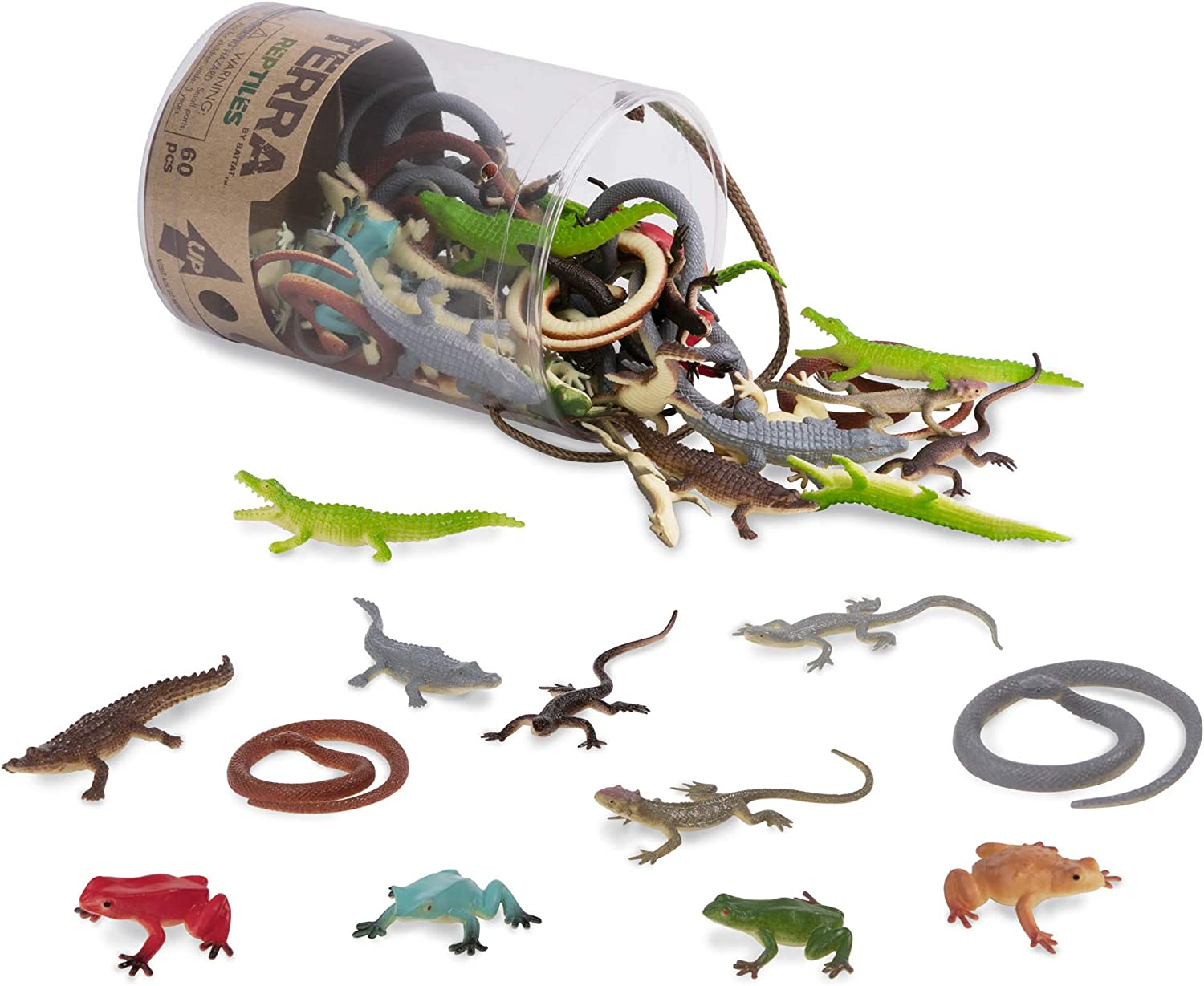 Terra by Battat – Reptiles In Tube – Assorted Reptile Animal Toys & Cake Toppers For Kids 3+ (60 Pc)