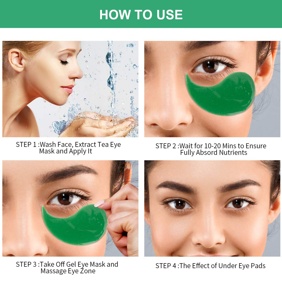 Under Eye Patches, Collagen Under Eye Pads 30 Pairs Anti Aging Tea Gel Eye Treatment Mask for Women Men Energizing Moisturising Hydrating Eye Bags Dark Circles Wrinkles Under Eye Mask