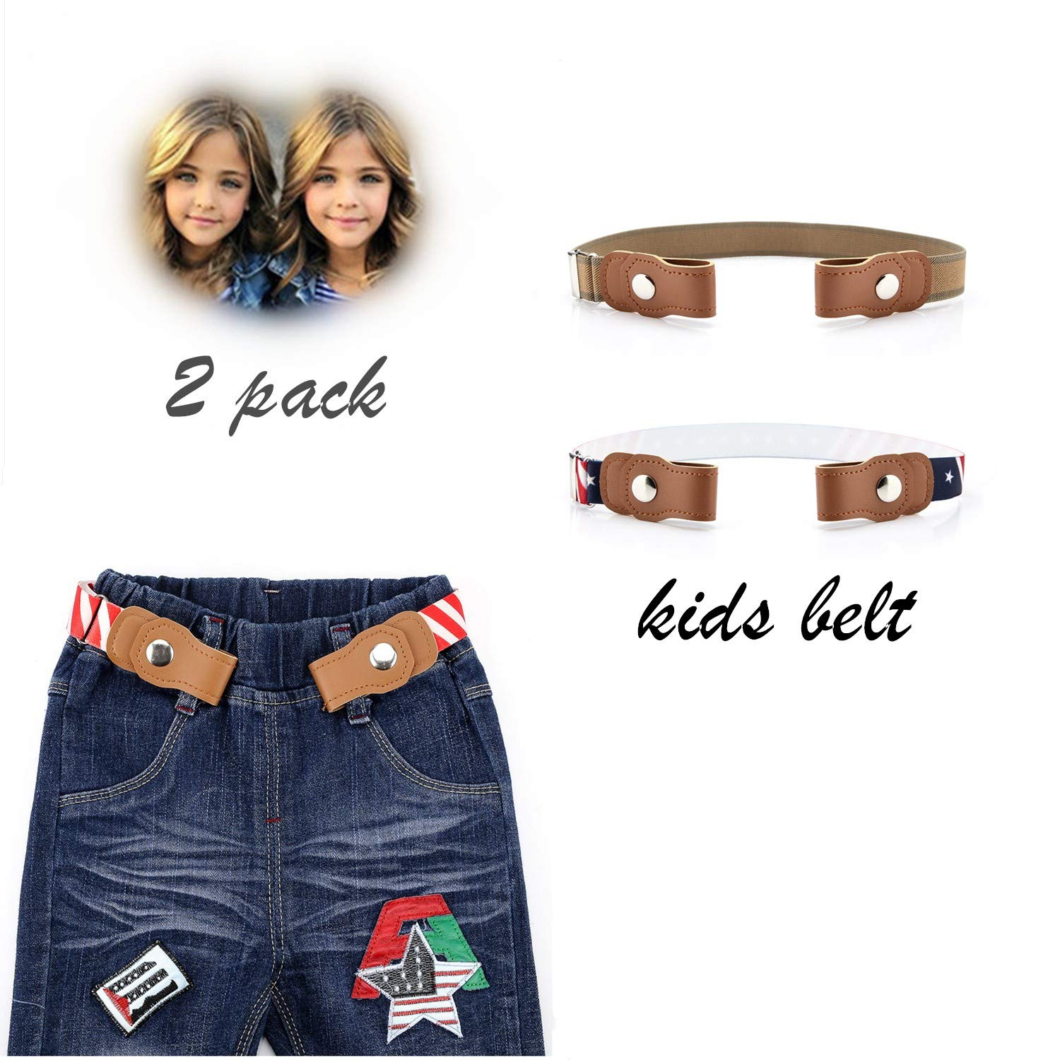 Toddlers Buckle-free Stretch Belts for Girls Boys Pack of 2 No Buckle Adjustable belt by BiBest