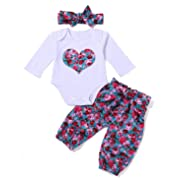 3Pcs Newborn Baby Girls Floral Heart Peach Print Romper Top and Flower Long Pants Bowknot Headband Outfits (Label 70/Age 0-6M)