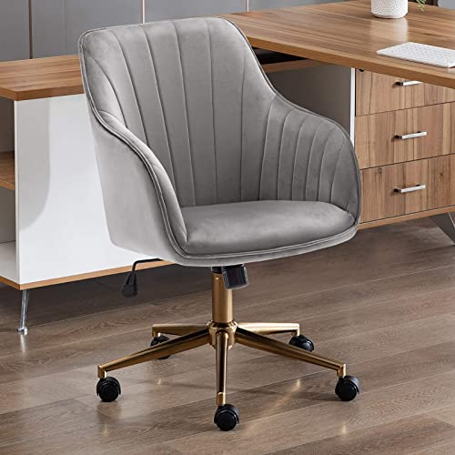 Duhome Home Office Chair Computer Desk Chair Armchair Task Chair Velvet Upholstered Chair Height Adjustable Comfortable Stool Swivel Rolling Chair