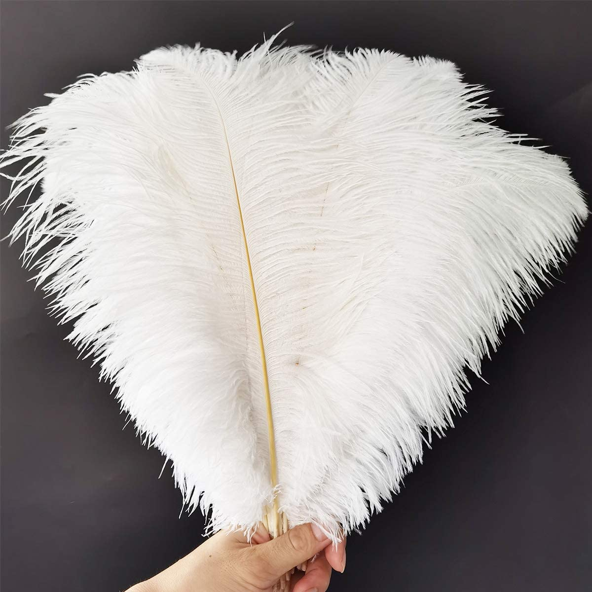 Happy Feather 16-18 inch White Ostrich Feathers Craft for Wedding Party Centerpieces Home Decoration DIY Craft Pack of 5