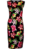 Exotic Orchids Floral Bodycon Wiggle Style Pencil Dress