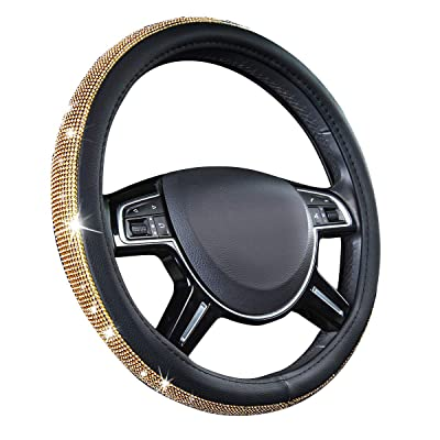CAR PASS Glorious Rhinestones Leather Universal Steering Wheel Cover, Fit for Suvs,Vans,sedans,Cars,Trucks (Golden): Automotive