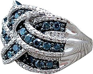Bagues Mode, YUYOUG Electroplate 925 Argent Bleu Saphir Anneau Femmes Fiançailles Nuptiale Cadeaux Bijoux
