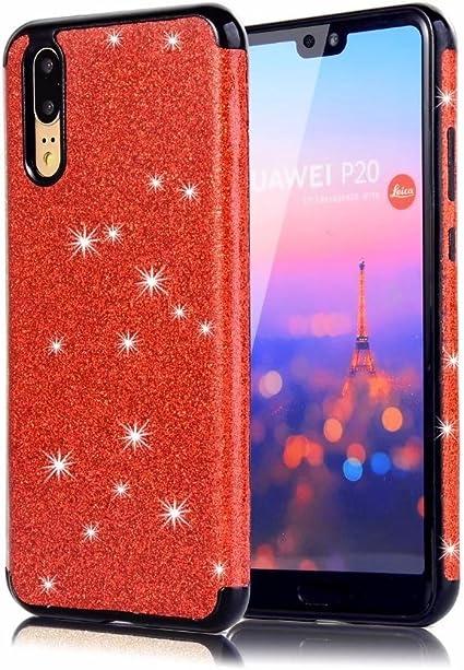Sycode Custodia per Huawei P20 PRO,Glitter Cover per Huawei P20 PRO, Bling Flessibile Morbido TPU Protettiva della Copertura per Huawei P20 PRO-Rosso
