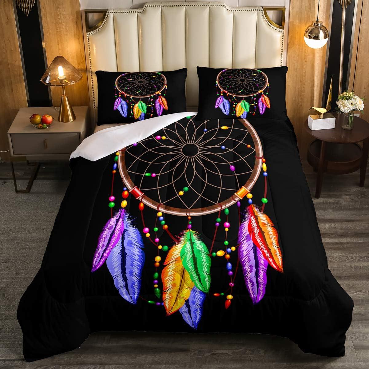 Erosebridal Dream Catcher Feather Quilted Coverlet King Size Bohemian Mandala Coverlet Set Tie-Dye Spiral Bedspread for Kids Boys Girls Teens Boho Chic Floral Quilt Bedroom Decor