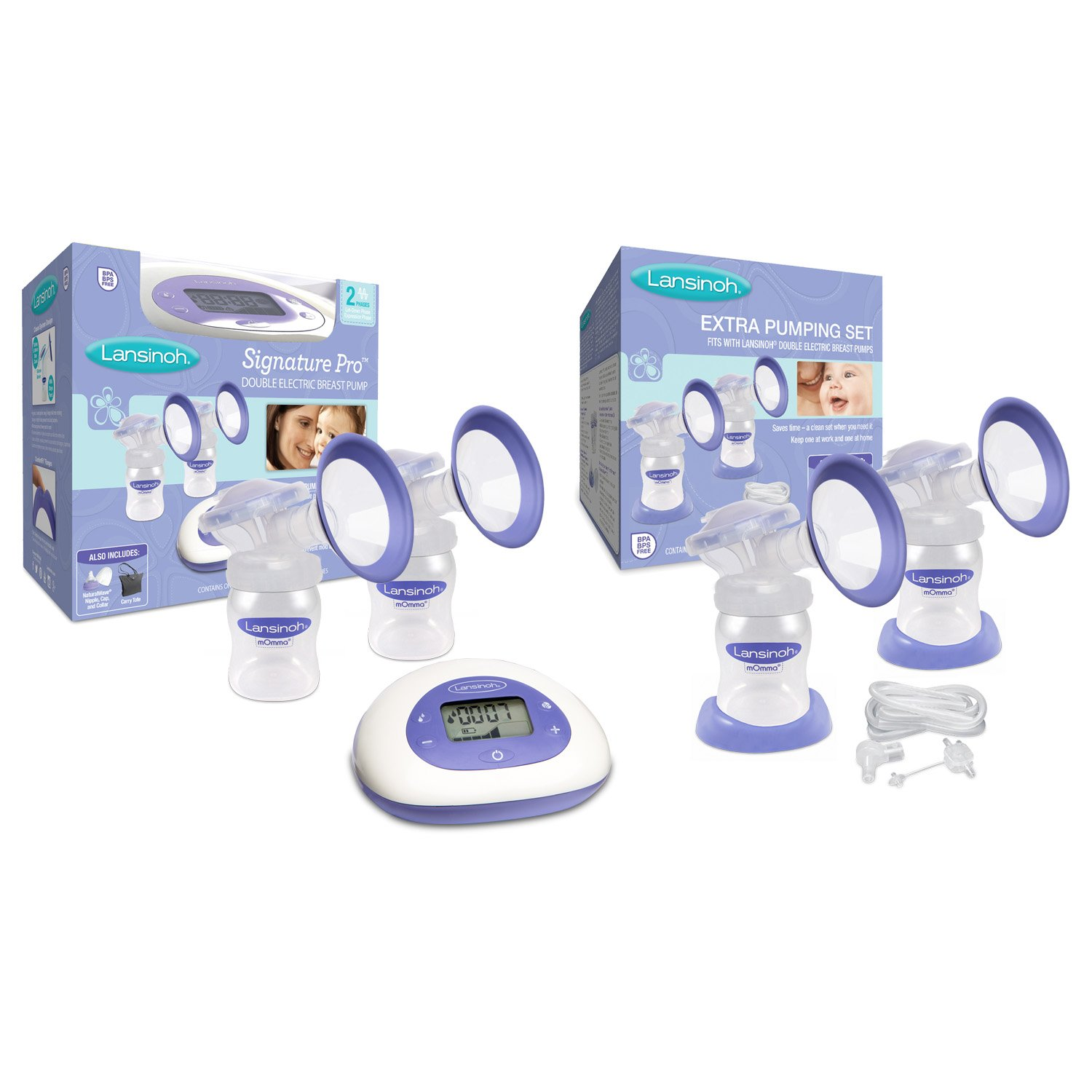 Lansinoh Signature Pro Double Electric Breast Pump with Extra Pumping Set, LCD Screen, Hygienic Closed System, Adjustable Suction Levels and Customizable Pumping Styles For Maximum Milk Production
