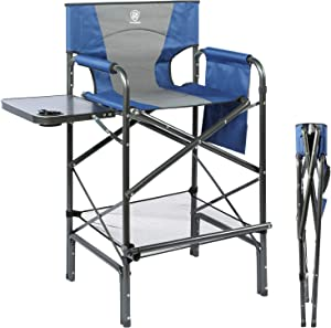EVER ADVANCED Tall Directors Chair Bar Height Foldable Makeup Artist Chair with Side Table Cup Holder Side Storage Bag Footrest, Supports 300LBS