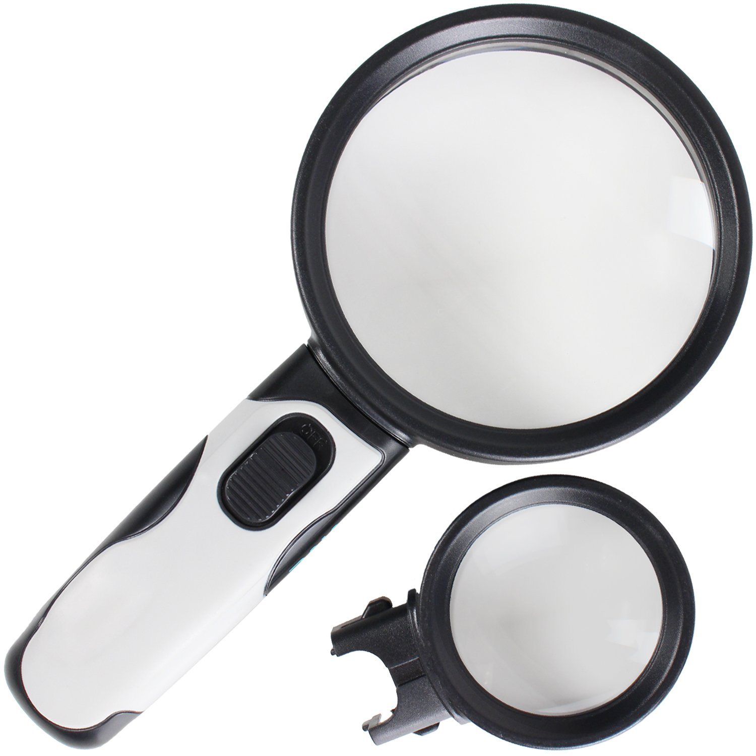 Magnifying Glass with Light by Vive - LED Illuminated Magnifier Jewelers Loupe - Large 5X and Big 10X Lens - Lighted Pocket Map Travel Reading Aid (Black and White)