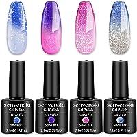 Senvenski Color Changing Gel Nail Polish Blue Pink Lavender Lilac Gift Set Glitter Mood Chameleon Soak Off UV LED…