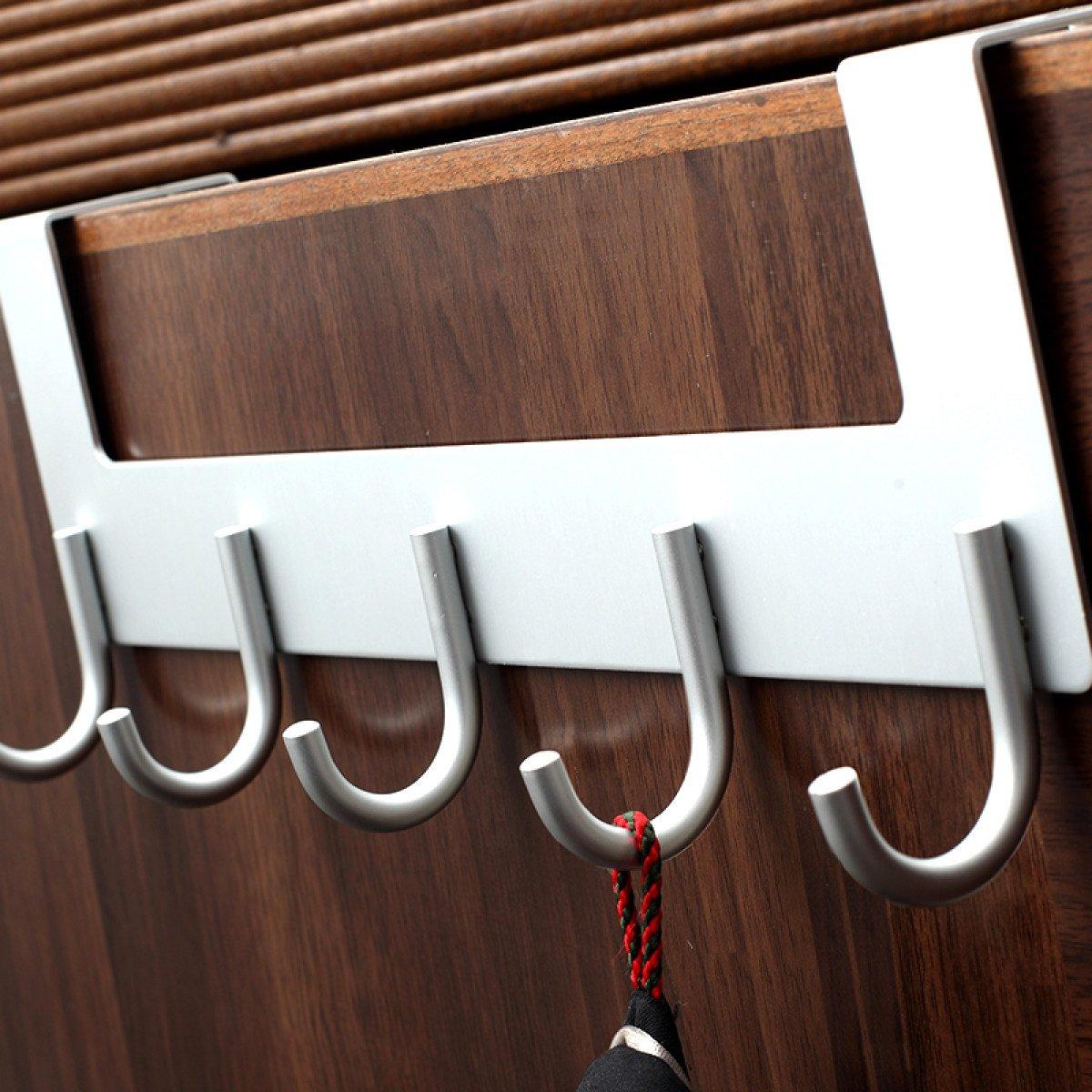 LIAN Coat hook door hook space aluminum traceless creative nail-free racks row hook (Color : Silver A)