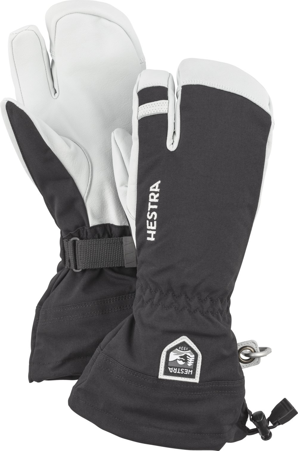 Hestra Army Leather Heli Ski 3-Finger Gloves with Gauntlet,Black,8 by Hestra