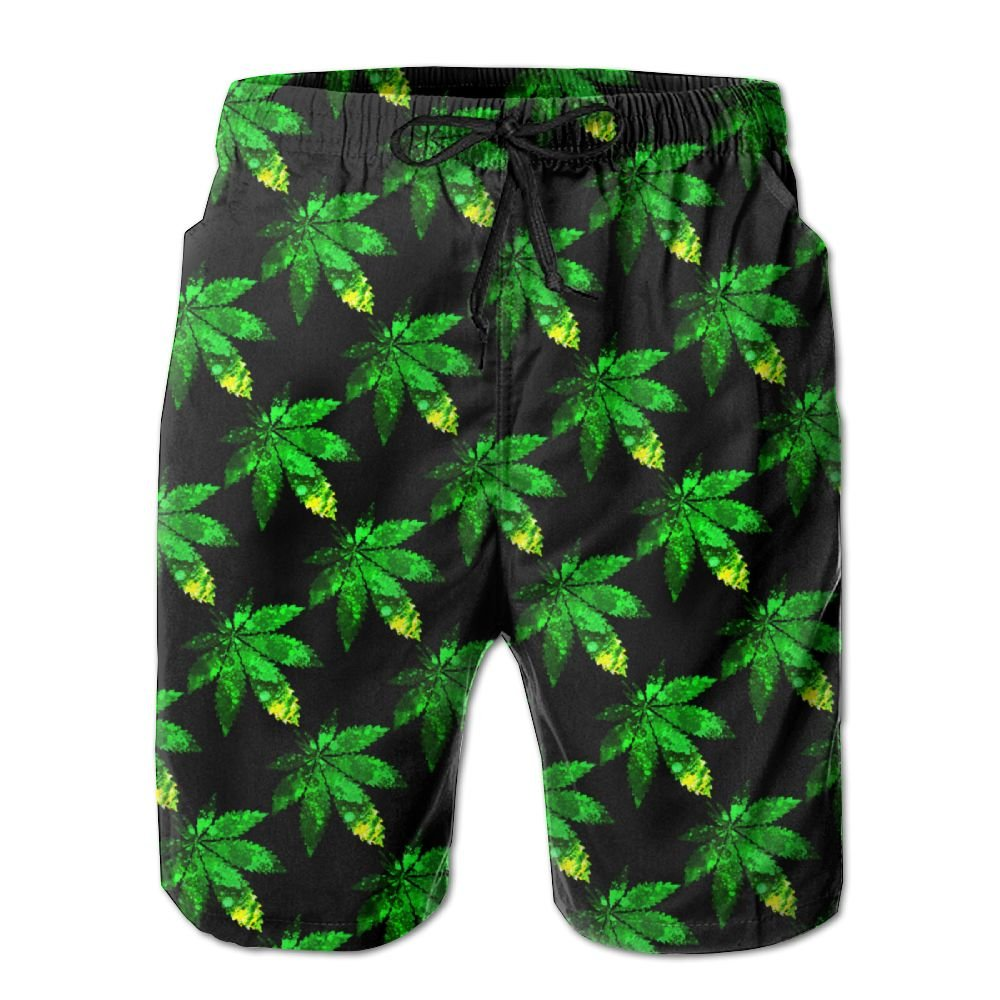 Newest - Men Trunks Summer Quick Dry Board Shorts - Green Flame Leaf Weed