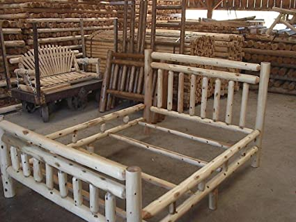 Amazon Com White Cedar Log Bed King Kitchen Dining