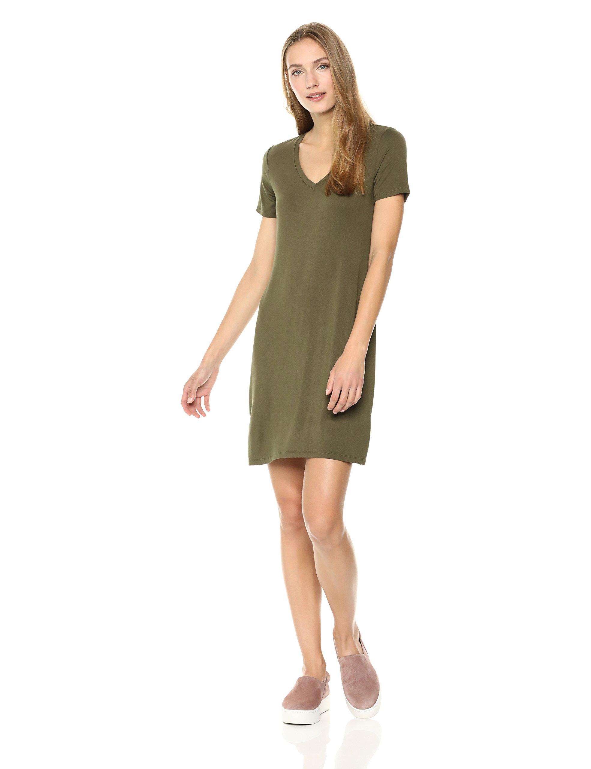 Daily Ritual Women's Jersey Short-Sleeve V-Neck T-Shirt Dress, Olive Green, S