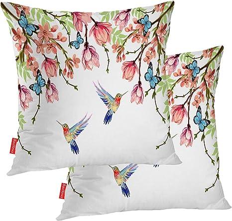 Cotton Linen Tropical Flowers Birds 18in Cushion Cover Pillow Case Home Decor