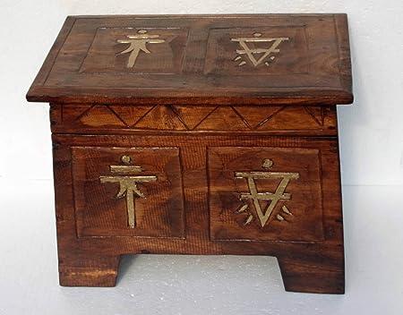 Hand Made Oriental Storage Box Antique Vintage Effect Unusual wooden Storage Box & Hand Made Oriental Storage Box Antique Vintage Effect Unusual wooden ...