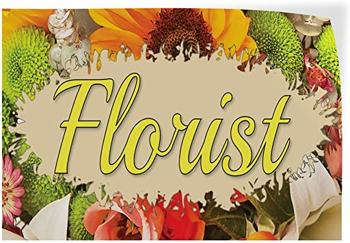 27inx18in Set of 5 Decal Sticker Multiple Sizes Florist #1 Style C Business Florist Outdoor Store Sign White