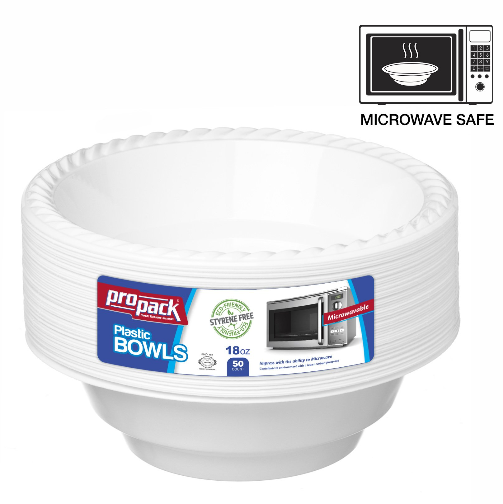 Propack 18 Ounce Disposable Bowls Microwave Safe 50 Count White Pack of 2 (100 Bowls Total) by Propack