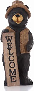 Hi-Line Gift Ltd Bear Standing with Welcome Sign Statue