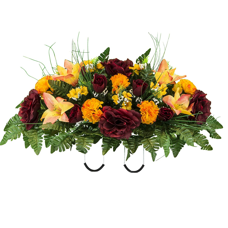 Artificial Cemetery Flowers Saddle Arrangement Burgundy Orange