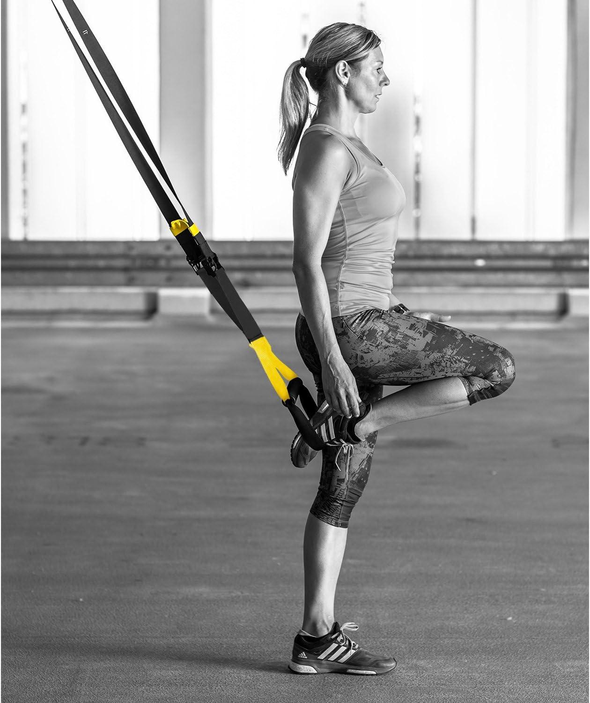 Das leben Cintas de suspensión para entrenamiento de ejercicios fitness fortalecimiento, resistencia y tonificación muscular, hasta 600KG para adulto ...