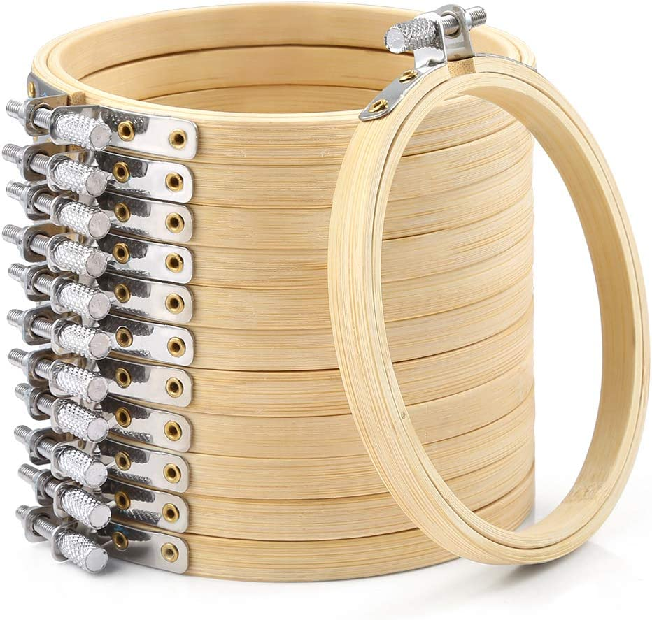 Caydo 4 Inch Round Embroidery Hoop Bulk Wholesale 12 Pieces/Bamboo Circle Cross Stitch Hoop Ring