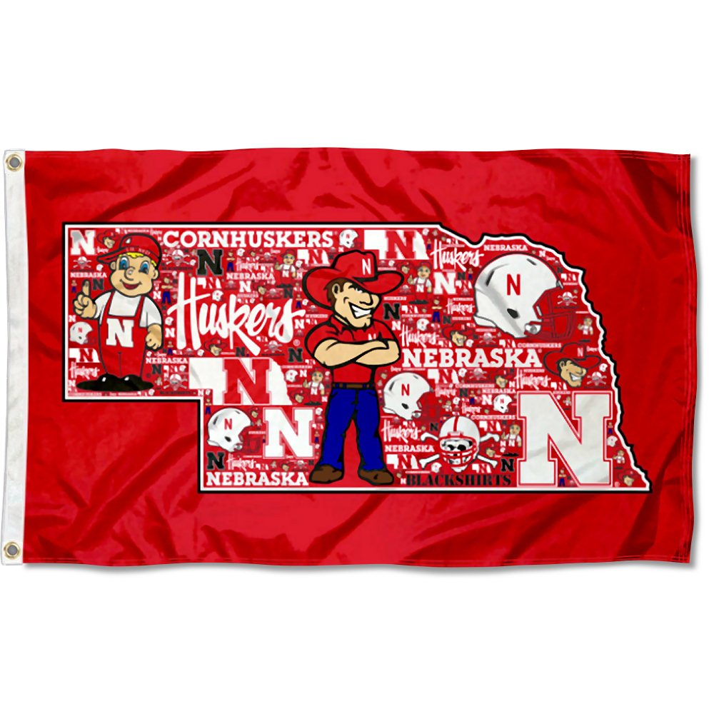 College Flags and Banners Co Nebraska Cornhuskers Mosaic Logos Flag