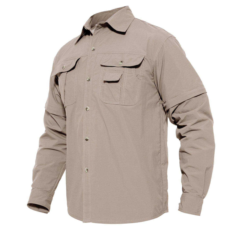 MAGCOMSEN Sportswear Long Sleeve Shirt Vented Performance Fishing Vented Convertible Shirt